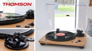 Ersteigern Sie einen Thomson Plattenspieler TT450BT in edlem Design mit Holz-Oberfläche